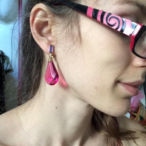 Vintage Jewelry - Vintage Homecoming Hot Pink Droplet Earrings